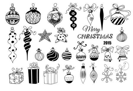 decoration: Christmas baubles. Hand - drawn collection of Christmas decoration - baubles with bows, stars, snowflakes, teardrops, bells and gifts over white background.