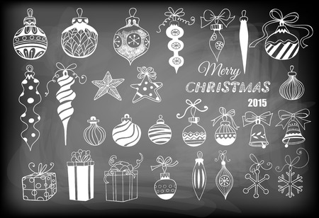 Christmas baubles. Hand - drawn collection of Christmas decoration - baubles with bows, stars, snowflakes, teardrops, bells and gifts on chalkboard background.
