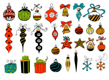 Christmas baubles. Hand - drawn collection of Christmas decoration - baubles with bows, stars, snowflakes, teardrops, bells and gifts over white background.