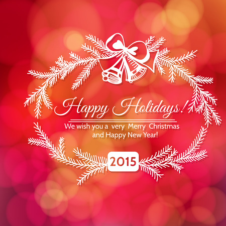 Hand - drawn frame made of fir branches and bells tied with  bow and Holiday greetings on red bokeh background. Vector