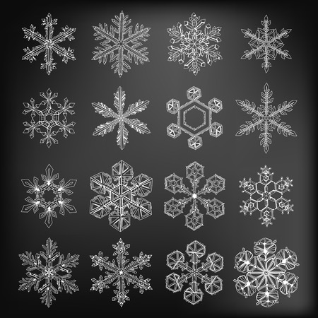 snow crystal: Snowflakes. Collection of 16 beautiful hand - drawn snowflakes on chalkboard background.