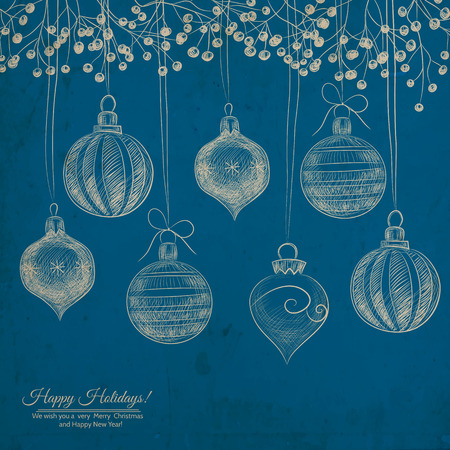 teardrop: Hand -drawn baubles, teardrop ornaments and holly berry branches on grunge blue background with old paper texture. Illustration