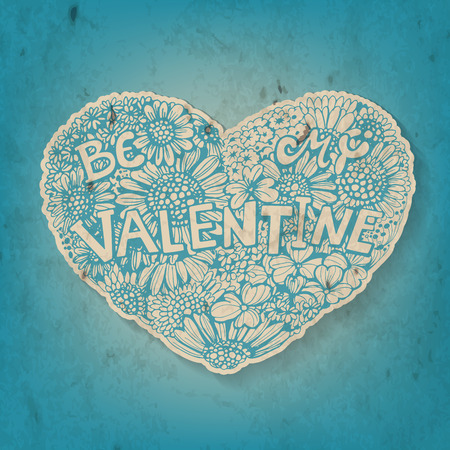 Floral heart. Hand - drawn heart made of various types of flowers  on blue background with old paper texture. Valentine day card. Vector