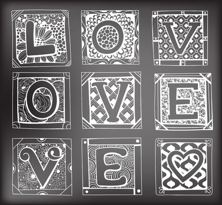 love letters: Doodled cards with letters. Hand - drawn cards with various floral and geometrical patterns with letters forming word Love on chalkboard background. Valentine day design.