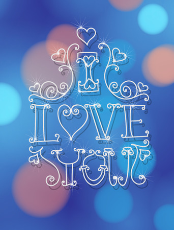 amore: Valentine day card. White decorative lettering - I love you on blue bokeh background.