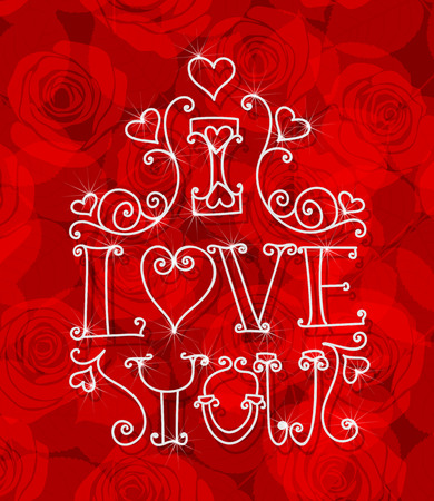 amore: Valentine day card. White decorative lettering - I love you on red  background with roses.