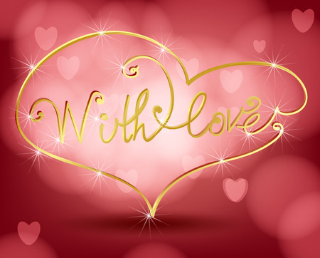 amore: Golden lettering With Love  in frame with heart shape on red bokeh background. Valentine Illustration