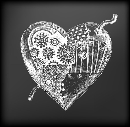 repaired: Hand drawn illustration of mechanical heart repaired many times but still working on chalkboard background. Valentines day illustration.