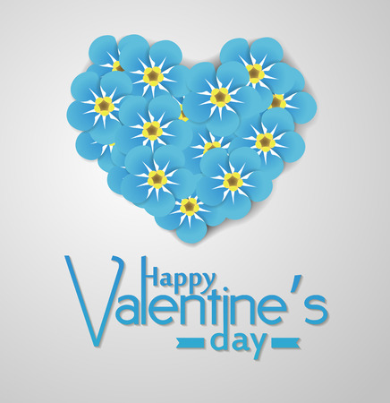 forget me not: Bouquet of forget me not flowers in shape of heart and Happy Valentines day lettering on white background. Illustration