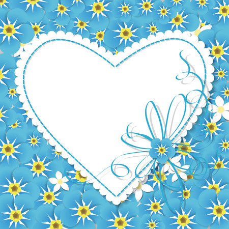 forget me not: Paper label in shape of heart with blue stitching and ribbon over background covered with forget me not flowers. valentines day illustration.