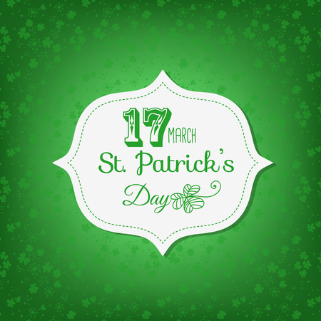 stitching: St. Patrick day card. Happy st. Patrick day lettering on white paper label with stitching on green background with clovers.