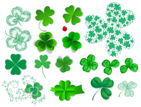 st patrick day: Clovers set. Collection of various type of clovers - realistic, paper and hand - drawn. Elements for St. Patrick day design on white background. Illustration