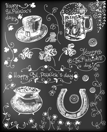 pot of gold: Set of hand - drawn St.Patrick day related objects - clovers, hat, beer, pot full of gold, horseshoe on chalkboard background. Illustration
