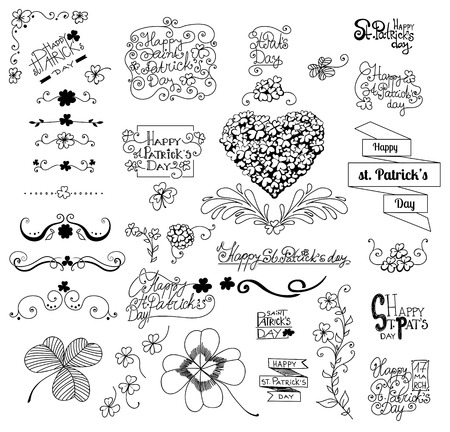 St .Patrick day set. Collection of hand - drawn elements for St. Patrick day design. Clovers, frames, heart made of clovers and lettering on white background. Vector