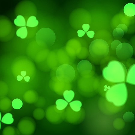 three leaf: Abstract green bokeh background with three leaf clovers. St. Patrick day design.