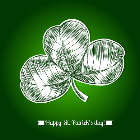 three leaf clover: White paper with hand- drawn three leaf clover and lettering with ribbon on green gradient background. St.Patricks day design.