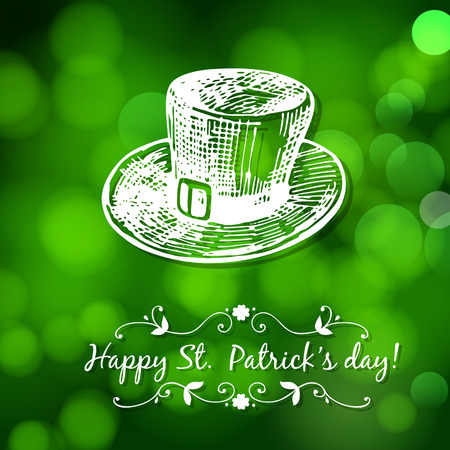 st patrick: St. Patrick day card. Hand - drawn leprechaun hat and lettering in frame on green bokeh background.