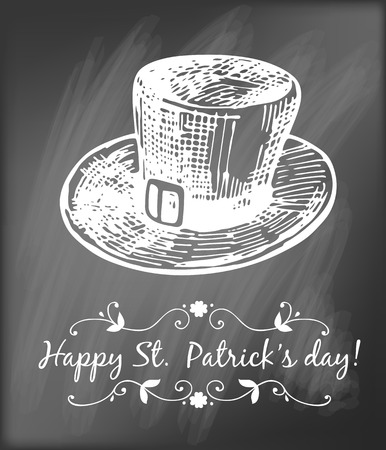 st  patrick day: St. Patrick day card. Hand - drawn leprechaun hat and lettering in frame on chalkboard background.