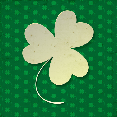 White paper three leaf clover on green background with clover pattern and old paper texture. Vector