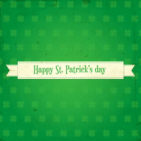St. Patrick day card.White ribbon with stitching and lettering on green background with clover pattern and old paper texture. Vector