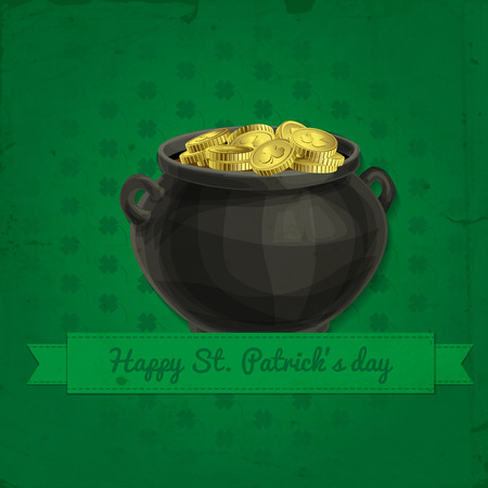 St. Patrick day card, pot full of gold and green ribbon with lettering on green background with clover pattern. Vector