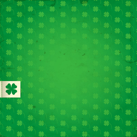 St. Patrick day card, Gradient green background with pattern with four leaf clovers and stitched white label with clover. Vector
