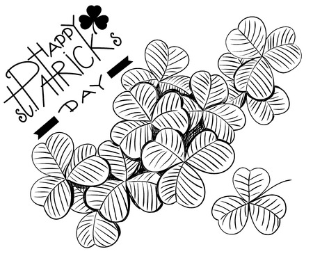 st patrick: Hand - drawn clovers and lettering on white background. St. Patrick day design.