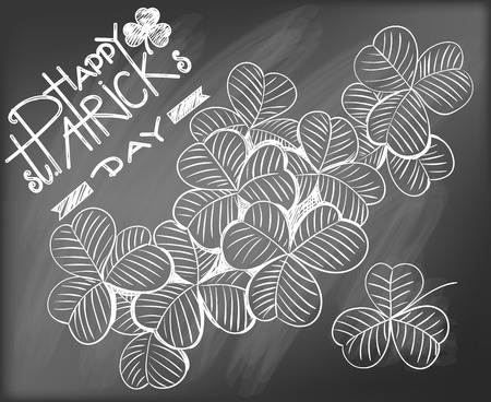 st  patrick day: Hand - drawn clovers and lettering on chalkboard background. St. Patrick day design.