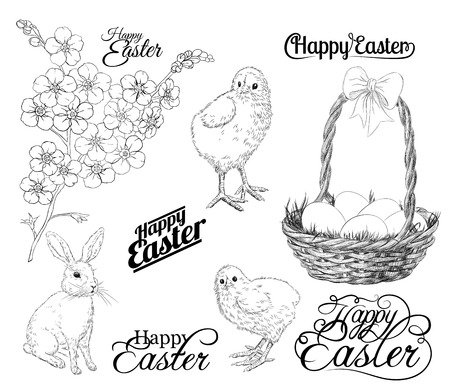 forget me not: Easter set. Collection of hand - drawn Easter related animals and objects. Two chickens, rabbit, basket with eggs, forget me not flowers  and Happy Easter lettering on white background.
