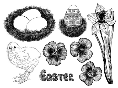 Easter set. Collection of hand - drawn Easter related animals and objects. Two chickens, rabbit, basket with eggs, forget me not flowers  and Happy Easter lettering on white background.