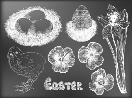 forget me not: Easter set. Collection of hand - drawn Easter related animals and objects. Two chickens, rabbit, basket with eggs, forget me not flowers  and Happy Easter lettering on chalkboard background.