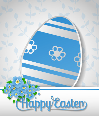 forget: Easter card. Blue paper egg, white card  with lettering and bouquet of forget