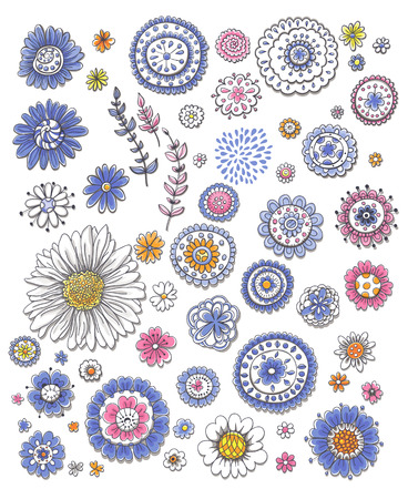 Collection of various hand - drawn flowers on white background.