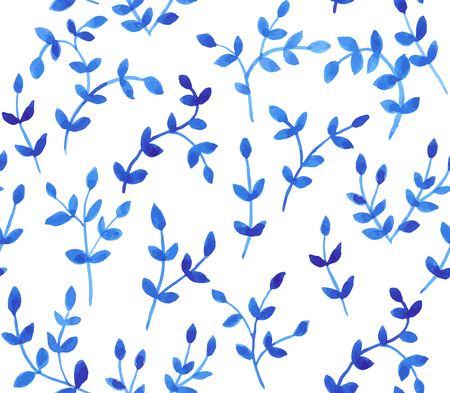 Seamless pattern with hand drawn branches with leaves. Watercolor background.