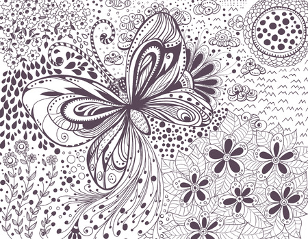 Doodle card. Hand -drawn butterfly, flowers and leaves on white background.