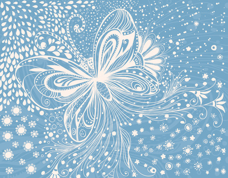 butterfly hand: Doodle card. Hand -drawn butterfly, flowers and leaves on blue background