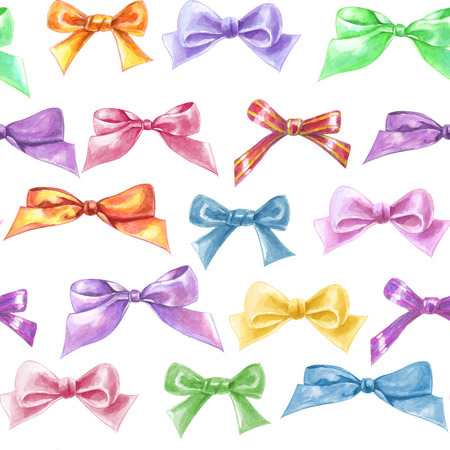Seamless pattern with various hand - drawn bows. Vector watercolor illustration.