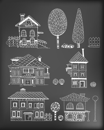 shrubs: Collection of hand - drawn houses, garden shrubs and trees on background. elements for design.