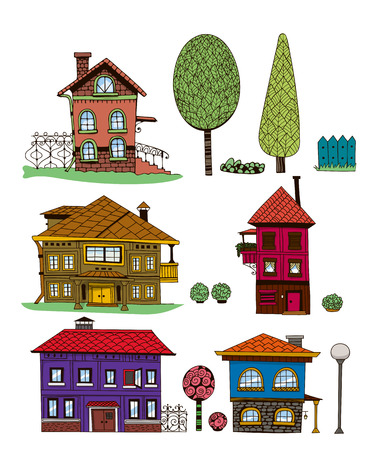 Collection of hand - drawn houses, garden shrubs and trees on white background. Elements for design. Vector