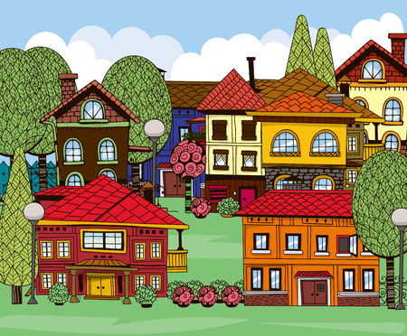 Hand drawn houses, green lawns, trees and garden shrubs. Doodle town on sunny day with blue sky and fluffy white clouds. Vector