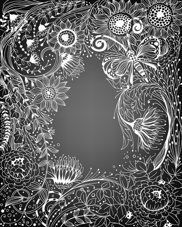hand drawn frame: Hand drawn frame made of various flowers and plants and beautiful doodle butterfly