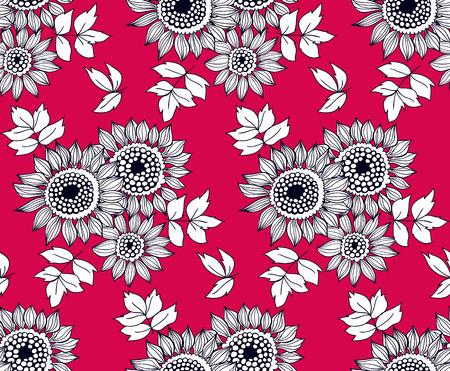 pâquerette: Seamless avec des bouquets de fleurs de marguerite dessinés à la main.