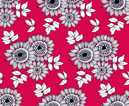 daisies: Seamless pattern with bouquets of hand drawn daisy flowers. Illustration