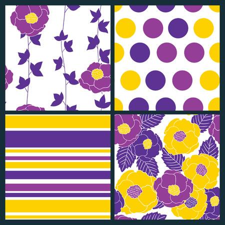 Set di 4 modelli senza soluzione con fiori stilizzati e foglie, a pois e strisce. Archivio Fotografico - 42098630