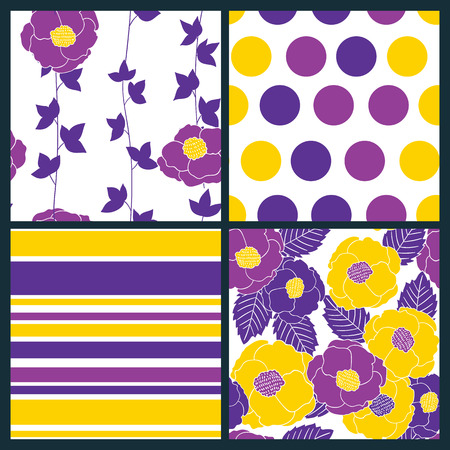 decorative pattern: Set of 4 seamless patterns with stylized flowers and leaves, polka dot and stripes.