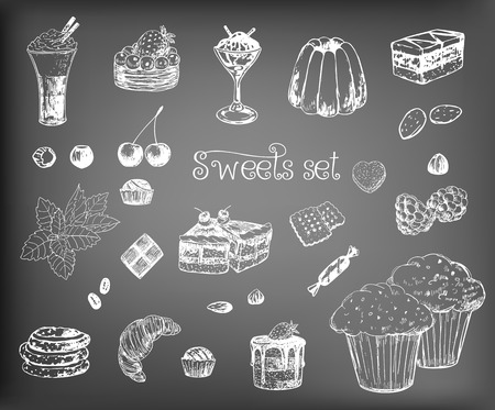 chocolate mint: Collection of various hand-drawn desserts and ingredients. Elements for design on chalkboard background.