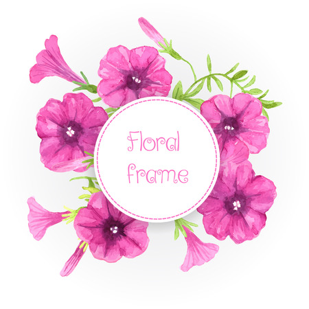 petunia: Watercolor petunias. Bouquet of pink petunia flowers and leaves on white background and round label.