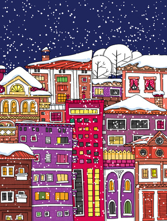 hand drawn: Hand drawn houses and buildings Illustration