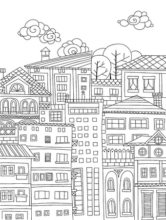 houses: Hand drawn houses and buildings Illustration