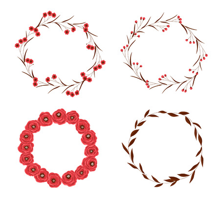 roses garden: Set of 4 frames made of various hand drawn flowers and leaves on white background. Illustration